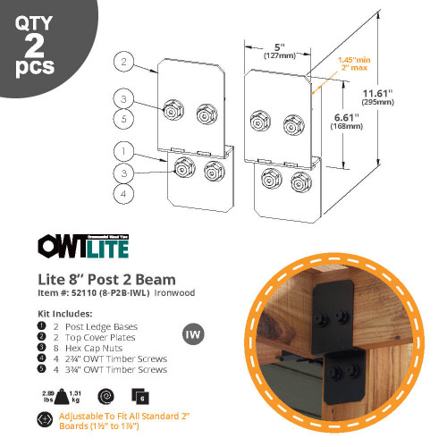 OWT-Lite 8-P2B-IWL Ironwood Post to Beam Connector Kit - Dimension Drawing