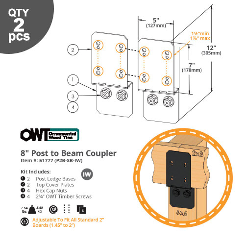 OZCO OWT Hardware 8P2B-SB-IW Ironwood Post to Beam Coupler - Dimension Drawing