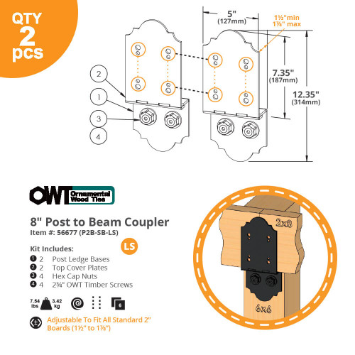 OZCO OWT 8P2B-SB-LS Post to Beam Coupler - Dimension Drawing