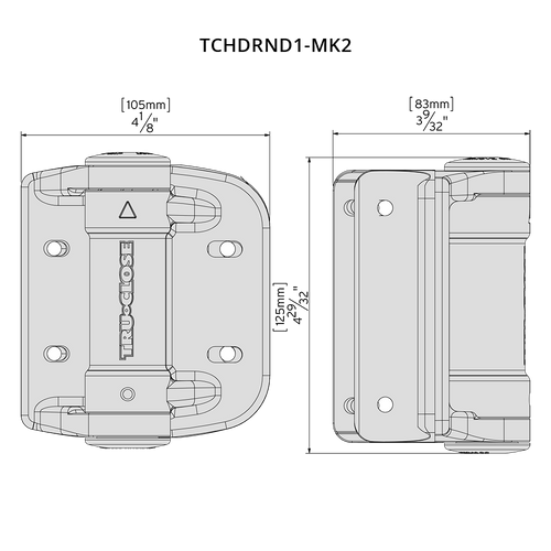 Specification Drawing for D&D Technologies TruClose Round Heavy Duty Gate Hinge Model TCHDRND1-MK2