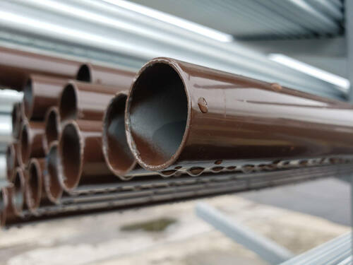 Brown .065 Fence Tubing for Chain Link Framework & Posts - Closeup