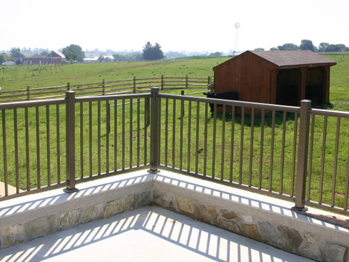 Bronze Key-Link Arabian Level Aluminum Railing Sections w/ Alternating Twisted Balusters