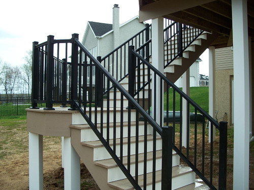 Arabian Series Black Aluminum Stair Railing with Square Balusters from Key-Link