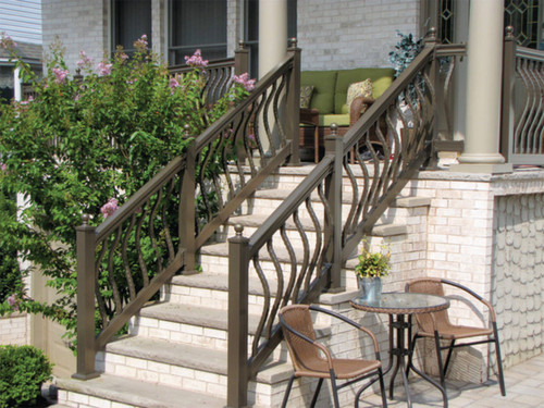 Key-Link Lancaster Series Aluminum Stair Railing Sections on Outdoor Stairs - Bronze with Hammered Bowed Balusters