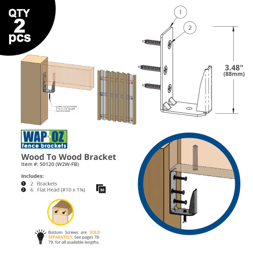 OZCO EZ-Hide Wood to Wood Fence Brackets - Line Drawings with Dimensions