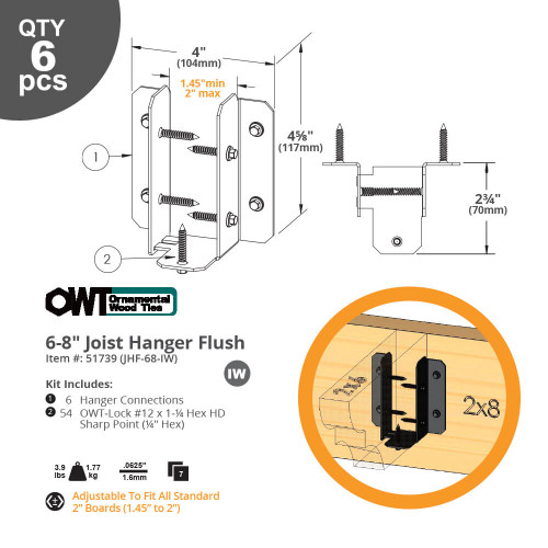 Joist Hanger Flush Drawing from OZCO Ornamental Wood Ties