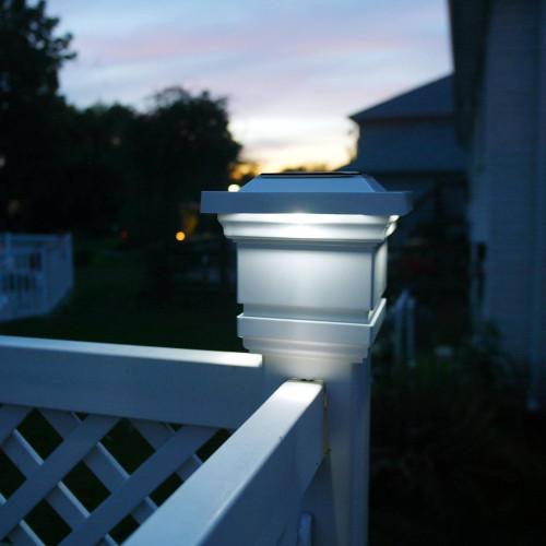 4x4 White Classy Solar Post Cap Light from Classy Caps on 4x4 Vinyl Post