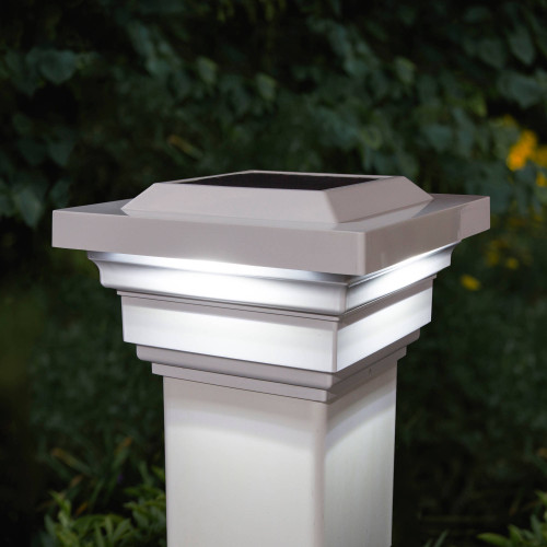 4x4 White Regal Solar Post Cap on White PVC Post