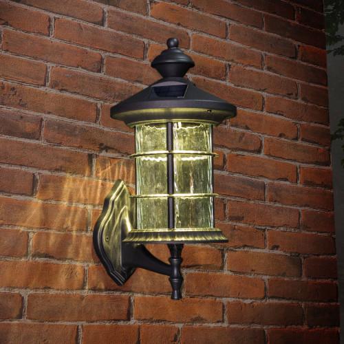 Hampton Black Aluminum Solar Lamp Mounted to Brick Wall