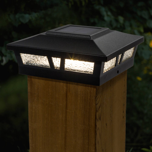 Oxford 6x6 Black Aluminum Solar Post Cap On Wood Post (SLX772B)