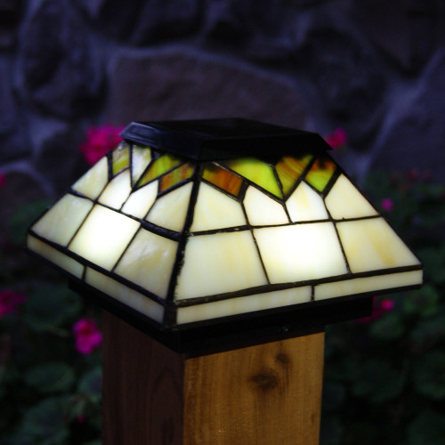 Wellington Stained Glass Solar Post Cap on 4x4 Wood Post