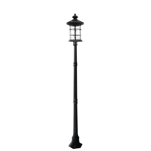 Classy Caps Black Aluminum Solar Lamp Base with Hampton Lamp
