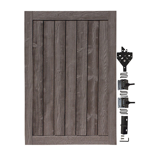 Bufftech Sherwood Gate with Hardware in Walnut Brown