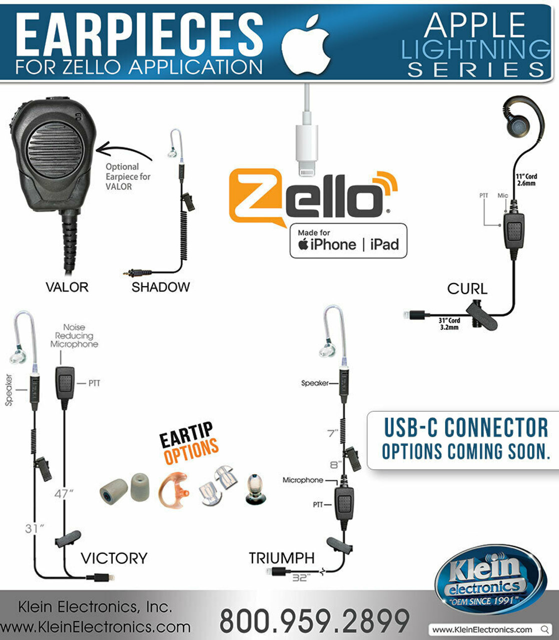 VICTORY 2-Wire Earpiece (Lightning iOS) For Zello