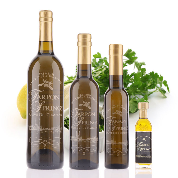 Four different size bottles of Tarpon Springs Milanese Gremolata Infused Olive Oil