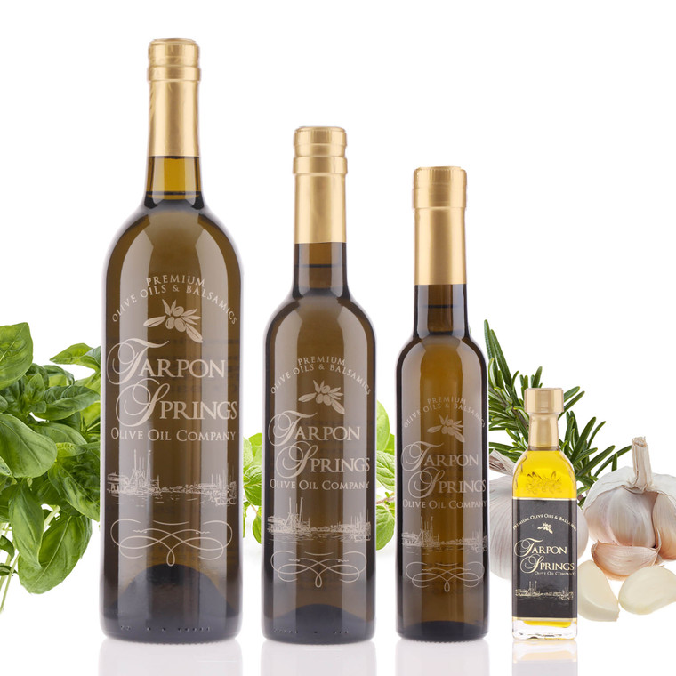 Four different size bottles of Tarpon Springs Tuscan Herb Infused Olive Oil