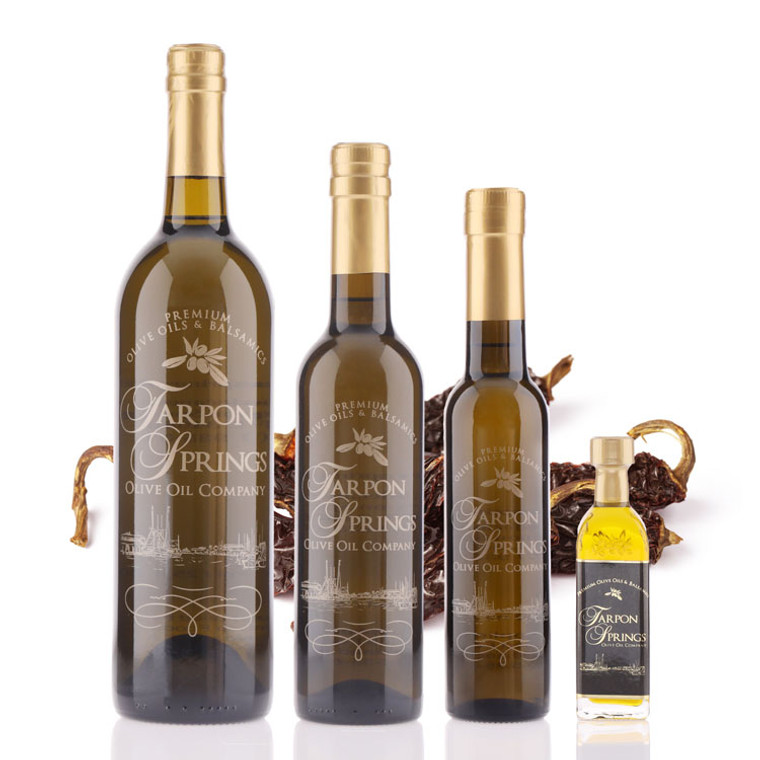 Four different size bottles of Tarpon Springs Chipotle Infused Olive Oil