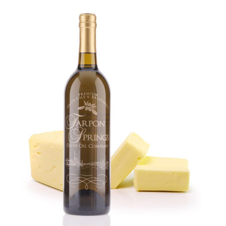 A 750mL bottle of Tarpon Springs Butter Infused Olive Oil