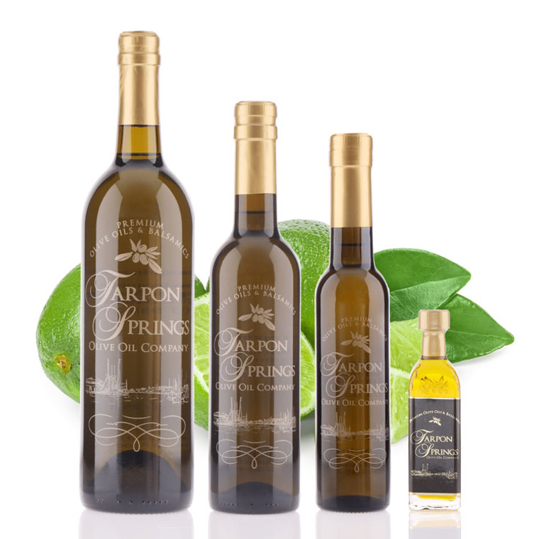 Four different size bottles of Tarpon Springs Persian Lime Infused Olive Oil