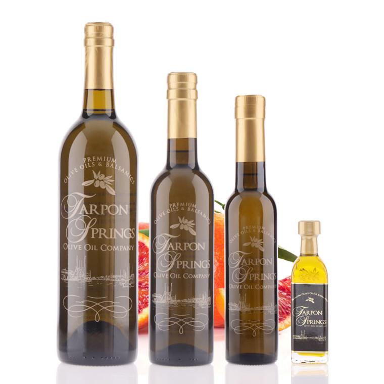 Four different size bottles of Tarpon Springs Blood Orange Fused Olive Oil
