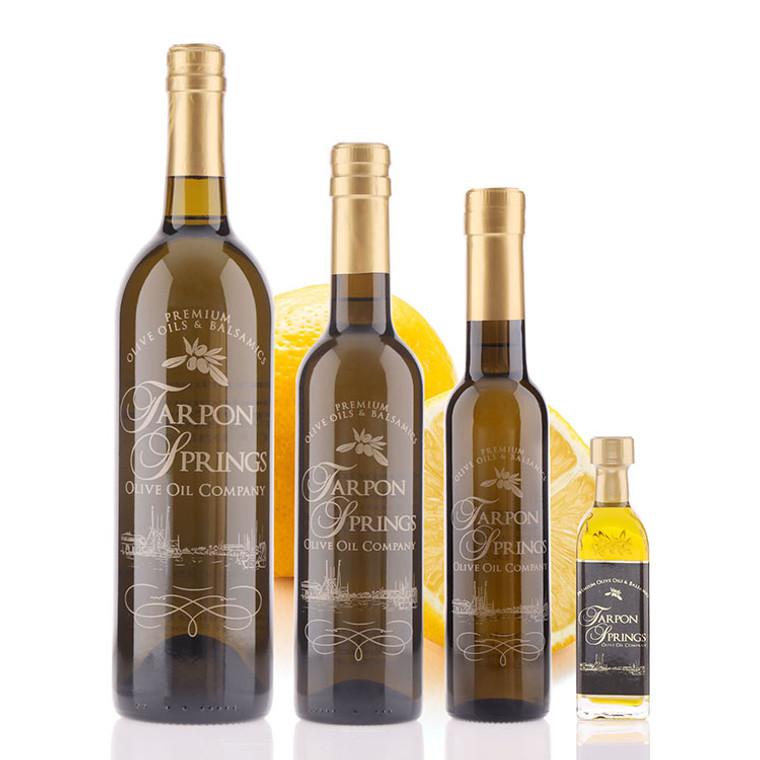 Four different bottle sizes of Tarpon Springs Greek Lemon Fused Olive Oil