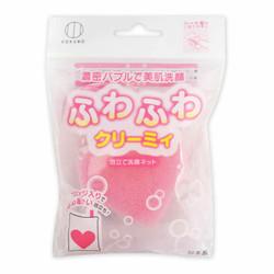 ふわふわクリーミィ ハートスポンジ入り洗顔ネット / Foaming Facial Net with Heart Shaped Sponge