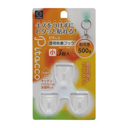 Pitacco 透明粘着フック 小 3個入 / Small Reusable Adhesive Hock Clear Set of 3