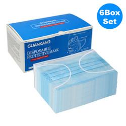 3層式 使い捨てマスク 不織布製 50枚入  x6箱セット / 3-Layer Disposable Protective Face Mask - 50pcs x6 box
