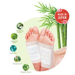 Jueki Detox Foot Pad with Natural Detoxifying Herbs 3 Box Set (Bamboo Vinegar, Argan Oil and Shea Butter) (8 pads x3)