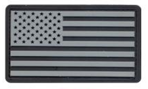 PVC US Flag Patch (Black/Silver)
