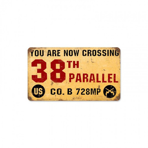 38TH PARALLEL Metal Wall Sign (14X8)