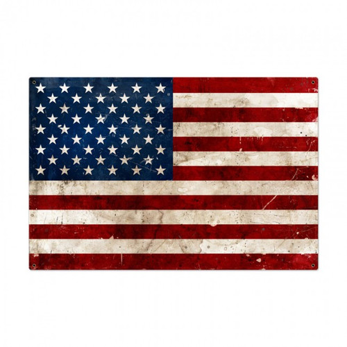 USA FLAG Metal Wall Sign (36X24)