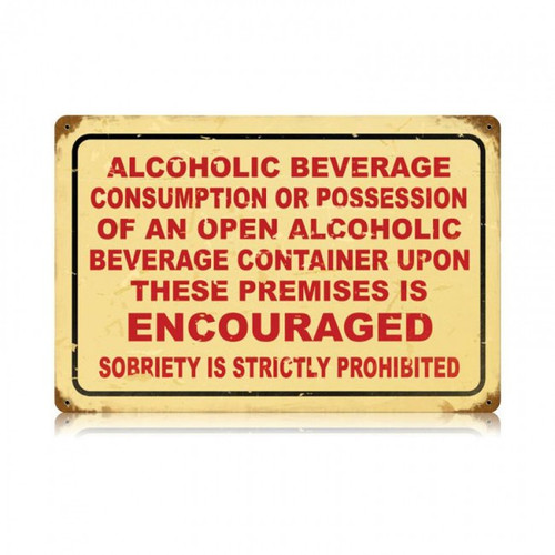 DRINKING ENCOURAGED Metal Wall Sign (18X12)
