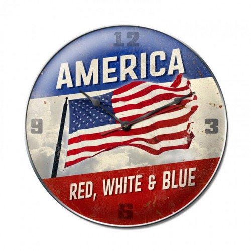AMERICA RED WHITE BLUE Clock (14X14)