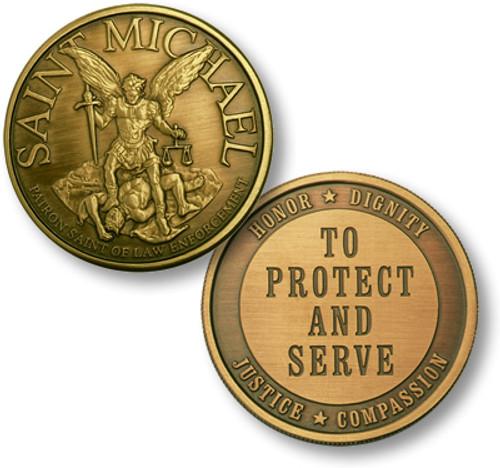 Saint Michael- Patron Saint Of Law Enforcement Challenge Coin