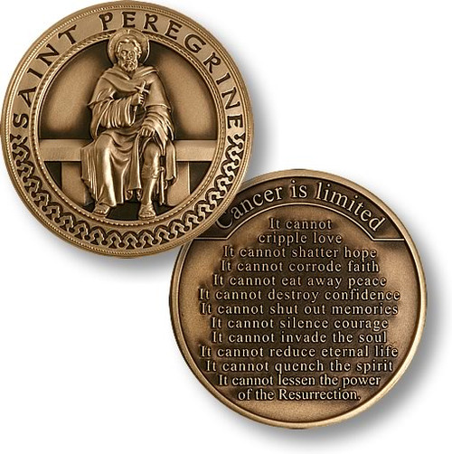 """Saint Peregrine """"Cancer Is Limited"""" Challenge Coin"""