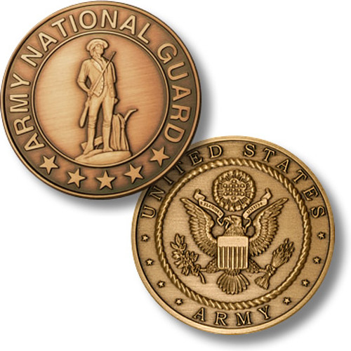 Army National Guard Bronze Antique Challenge Coin