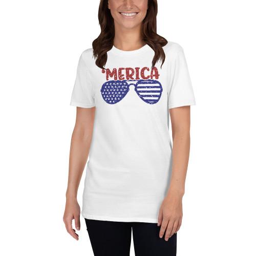 'Merica Glasses Short-Sleeve Unisex T-Shirt