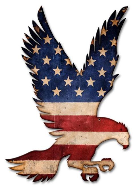 American Flag Flying Eagle Metal Wall Sign (16X23)