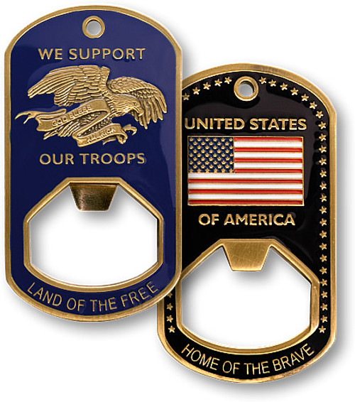 We Support Our Troops Dog Tag Bottle Opener