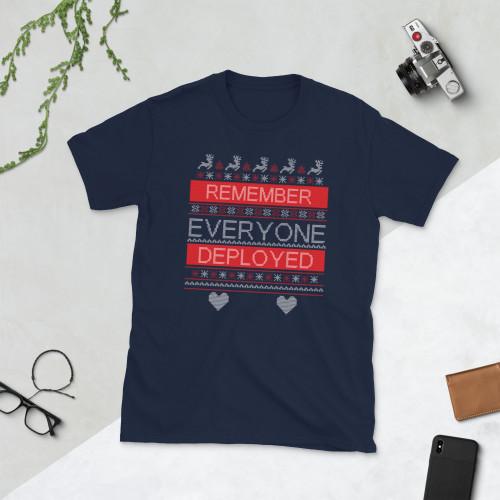 Remember Everyone Deployed (Fake Christmas Ugly Sweater design) Short-Sleeve Unisex T-Shirt