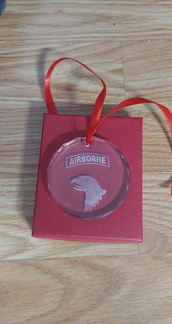 101st Airborne  Crystal Christmas Ornament