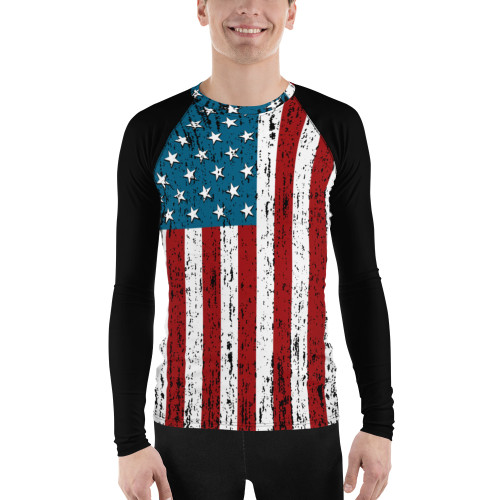 U.S. Flag Distressed Men's Rash Guard