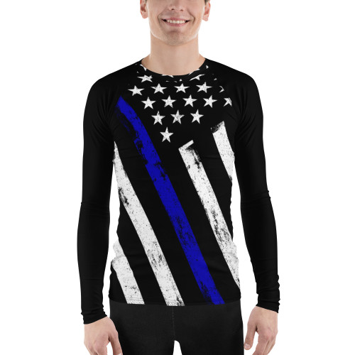 Blue Line Flag (Option 2) Men's Rash Guard