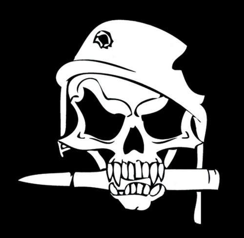 Skull Bullet In Military Helmet  Vinyl Decal