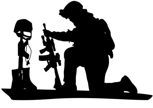 Soldier Praying Over Battlefield Cross  Decal