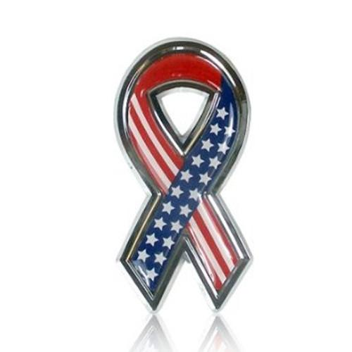 USA Flag Chrome Auto Emblem
