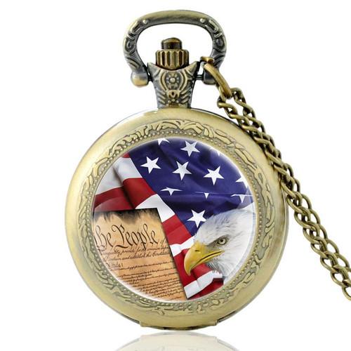 American Flag And Eagle Vintage Quartz Pocket Watch