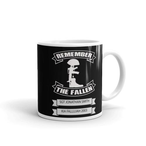 Custom Remember the Fallen White glossy mug