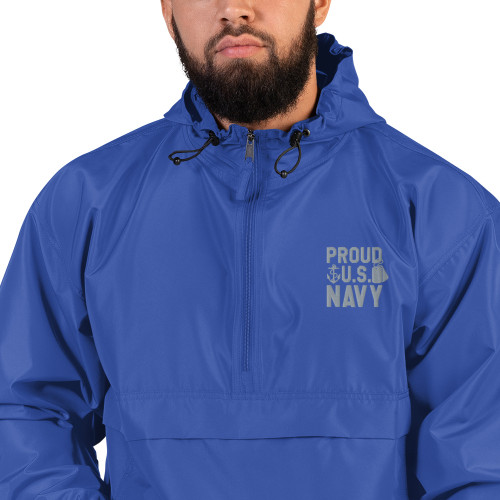 Proud US Navy Embroidered Champion Packable Jacket